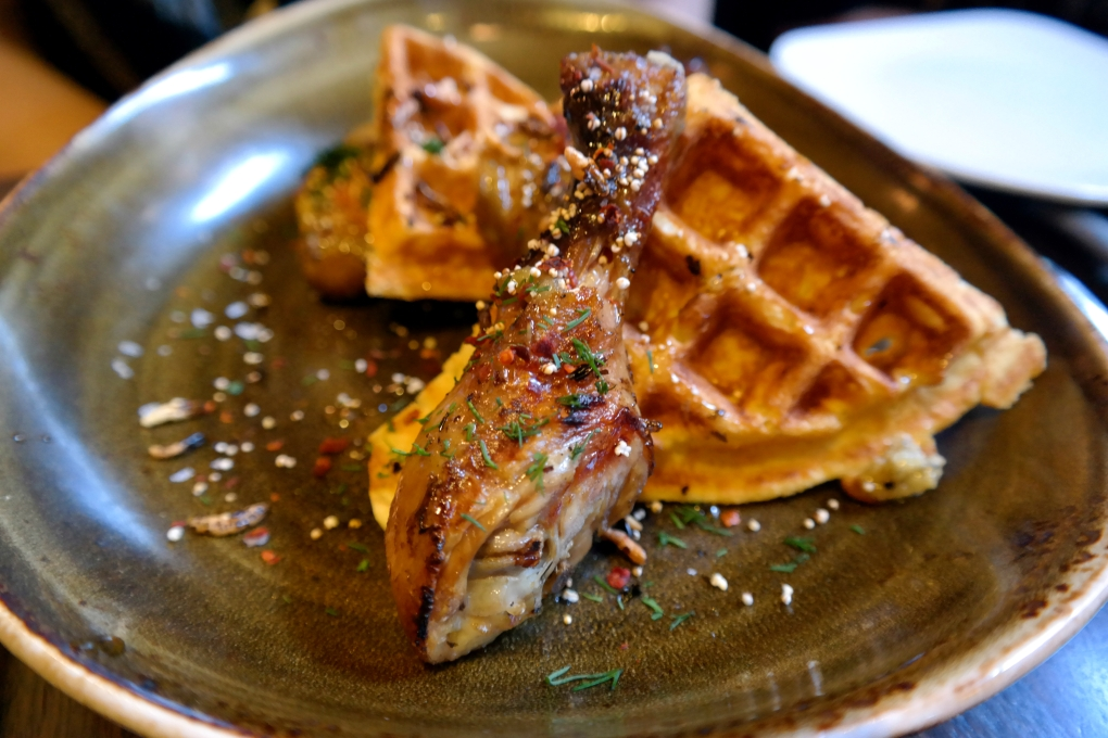 Spit Chicken and Waffles at Kapnos DC